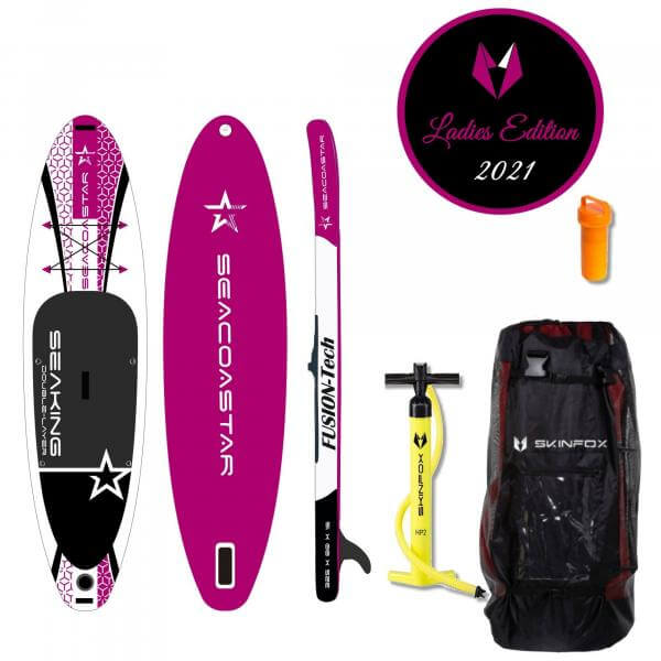 SEACOASTAR SEAKING CARBON-SET (325x80x15) Double-Layer SUP Paddelboard pink